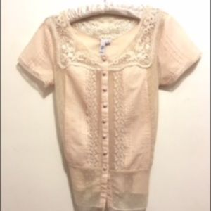 Ezra Johnny Was Embroidered Lace Blouse M